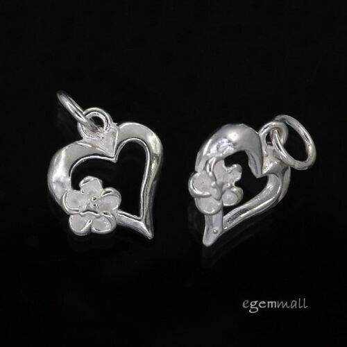 2PC Argent Sterling Fleur dans Coeur Charme Pendentif Perles 9 mm #97716