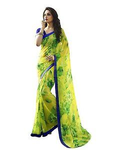 Indian Ethnic Printed Georgette Yellow Bollywood Saree Sari D.No SAR1327