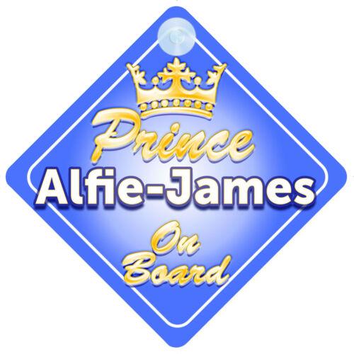 Prince héritier alfie-james à bord garçon personnalisé Voiture Signe enfant cadeau