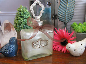 New Lg Farmhouse French Cottage Shimmer Painted Decorative Glass Bottle w/Bow