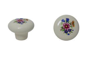 Moebelknopf-Moebelgriff-Moebelgriffe-Moebelknoepfe-Griff-Knopf-Porzellan-weiss-Blume
