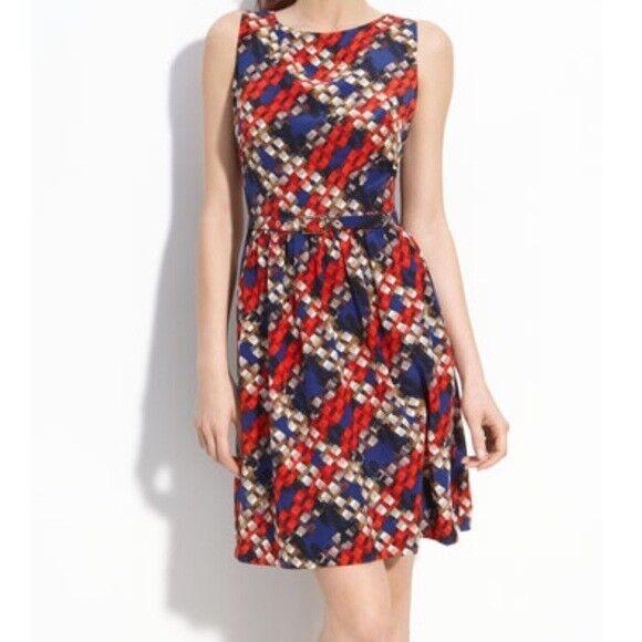 Trina Turk 2 Navy bluee Red Geo Print B-52 Silk Career Sheath Party Dress Belt