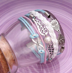 Handmade-Infinity-Vintage-L-Blue-Friendship-Owl-Wings-Charms-Leather-Bracelet