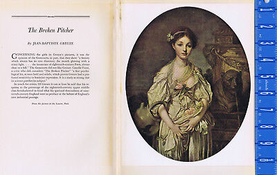 """1939 Vintage /""""THE BROKEN PITCHER/"""" by GREUZE A LOVELY Color Art Plate Lithograph"""