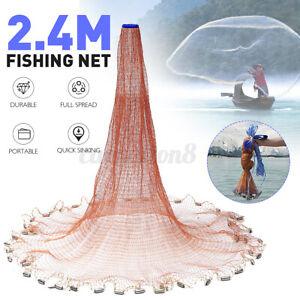 8ft 2.4m Magic Hand Cast Fishing Net Spin Network Easy Throw Bait Nylon Mesh