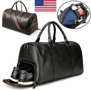 Waterproof-Luggage-Handbag-Large-Men-039-s-Black-Duffel-Leather-Travel-Shoulder-Bag