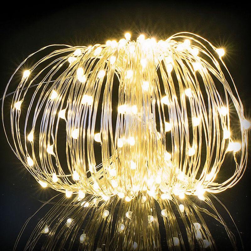 Solar Garden Fairy String 100 200 LED Light Rain Drop Crystal Bulb Outdoor Party 10