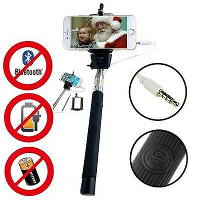 Monopod Selfie Stick Telescopic & Wire Built-in Bluetooth Remote Phone Holder