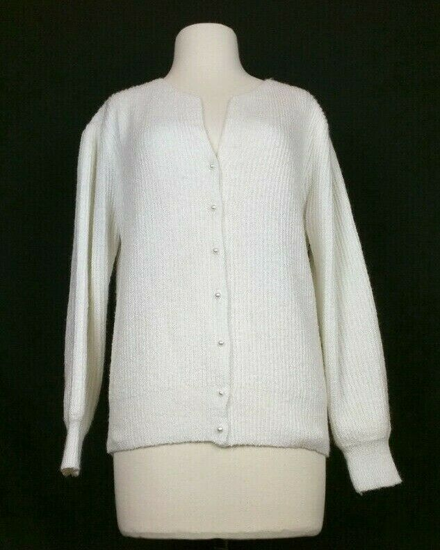 Vintage 80s Cardigan Sweater Off White Puffed Sho… - image 1