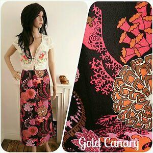 Vintage-60s-70s-Black-Pink-Floral-Psychedelic-Hippy-Folk-Maxi-Skirt-10-38