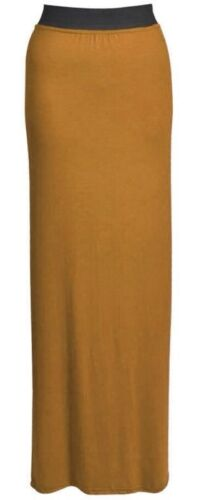 Femme Gypsy Long Jersey Maxi robe jupe Ladies Plain Long Jupe Plus Taille 8-26