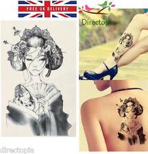 Large Waterproof Traditional Japanese Geisha Temporary Tattoo Sticker Art