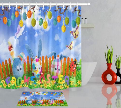 Waterproof Fabric Shower Curtain Set Wood Fence Green Grass Flowers Easter Eggs
