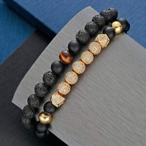 2Pcs-Men-039-s-Luxury-Tiger-Eye-Stone-Zircon-Bead-Bracelet-Yoga-Stretch-Bracelets