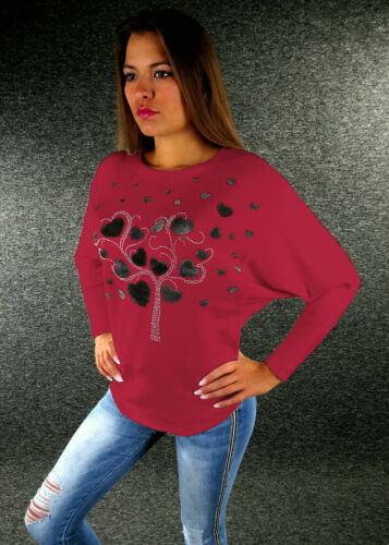 Efecto brillo señora suéter S M L XL fledermausarm 9 colores blanco rojo negro 2280
