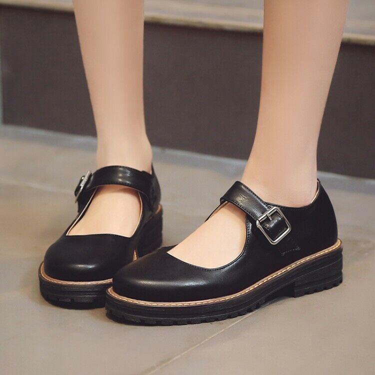 Women Pump shoes Mary Jane Lolita Buckle Strap Platform Chunky Heels Leisure Hot