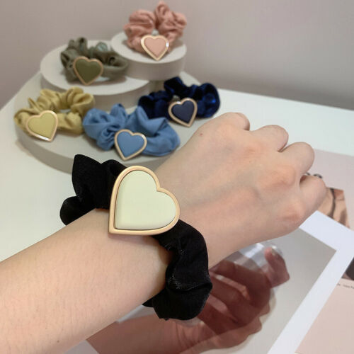 Details about  /Love Heart Polyester Rubber Band Hair Scrunchies Hair Ring Hair Ties Headband