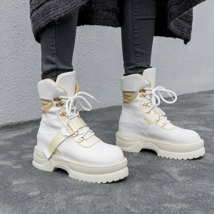 Women trend Round Lace up Platform Wedge Heels shoes Ankle Boots casual Sneakers