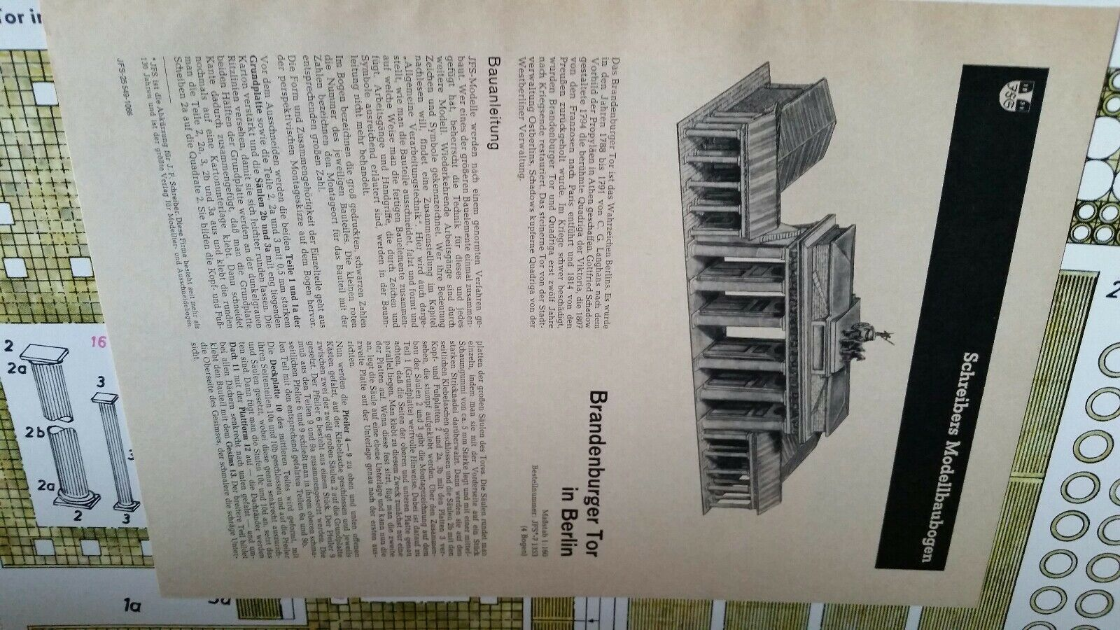 JFS JFS JFS Paper Model Brandenburg Tor In Berlin Printed in Germany 6b410f