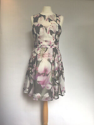 Lipsy Size 10 Dress Floral Wedding Evening Prom Summer Halter Neck Fit And Flare Ebay,Long Sleeve Boat Neck Lace Wedding Dress
