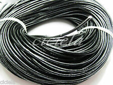 3M Black Real Leather Necklace Charms Rope String Cord 1.5mm Jewelrys Making