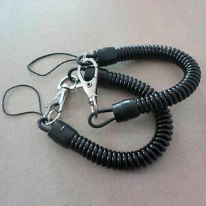 2-Plastic-Black-Retractable-Spring-Coil-Spiral-Stretch-Key-chain-Key-Ring-J7G8