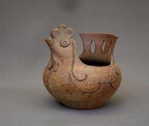 A Voir! Belle Ceramique Zoomorphe Vintage Figurant Poule En Gres ChamottÉe