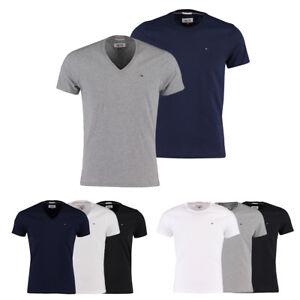 Hilfiger-Denim-T-Shirt-V-Neck-o-Rundhals-NEU-grau-blau-schwarz-weiss-S-M-L-XL-XXL