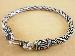 "New 925 Sterling Silver Braid Foxtail Wheat Bracelet Bali Style 7.5/"" 4mm 17g"