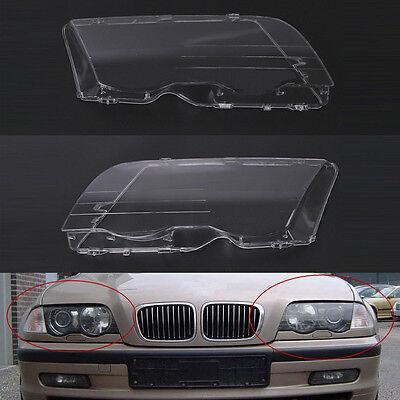 Pair Sports Car Headlight Lenses Glass Cover 4D Clear For BMW E46 3 Series 01-06