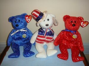 Ty Beanie Babies Sam Red Decade And Blue