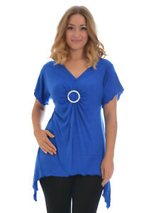 New-Womens-Plus-Size-Top-Ladies-T-Shirt-Buckle-Stud-A-Line-Asymmetric-Nouvelle