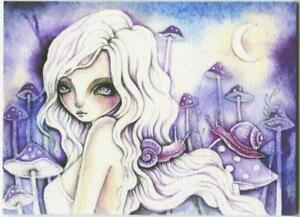 ACEO S/N L/E QUARTER MOON LAVENDER PURPLE GIRL SPIRIT MUSHROOMS SNAIL RARE PRINT