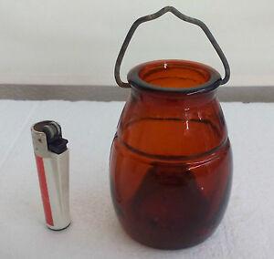 Antique rare Glass fly trap, amber catcher. Bouteille attrape mouche. Flycatcher