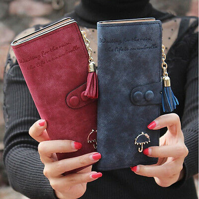Lady Women Leather Tassel Zipper Long Clutch Wallet Button Purse Card Phone Bag