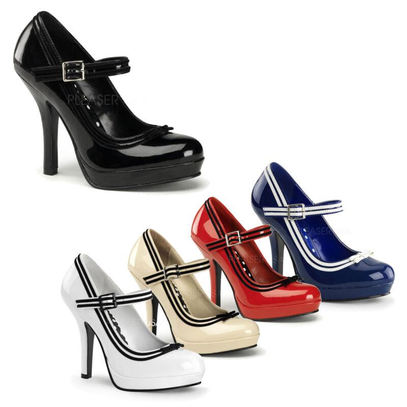 ZuverläSsig Pin Up By Pleaser - Secret-15 Mary Jane Shoe Pump With Contrasting Trim Guter Geschmack