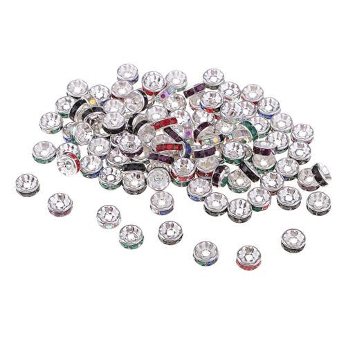 100pcs Runde Spacer Perlen Kristall Charms lose Perlen Metallperlen