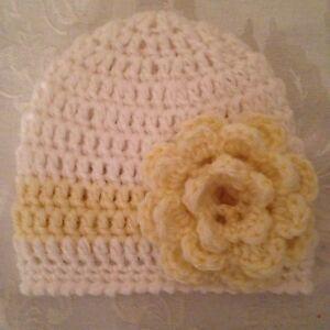 Hand Crocheted NEWBORN Baby Infant BEANIE CAP HAT Girls MADE IN THE USA