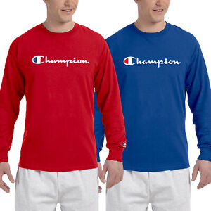 Champion-Mens-Classic-Script-Logo-Long-Sleeve-T-Shirt-Brand-New-S-3XL