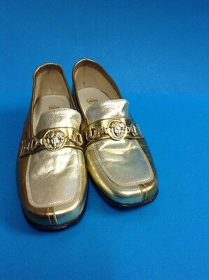 A Pair Of Marina Of Marbella Ladies Gold Leather Shoes UK size 3.5 `Fabulous