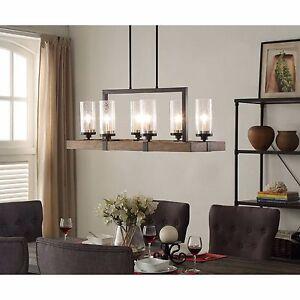 Rustic Wood Metal Dining Room Kitchen Glass Light Fixture Lighting