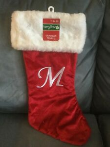 Letter Christmas Stockings.Details About Cvs Merry Bright Monogram Christmas Stocking 20 Letter M New With Tags