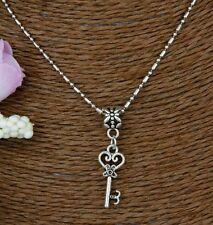 Necklace, Skeleton Key, Charm Flower, Bamboo Chain, Silvertone