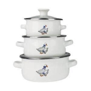 Set-6-Pcs-Marmites-Emaille-Cuisine-Soupe-Casseroles-Pots-Poele-Blanc-De-OIES