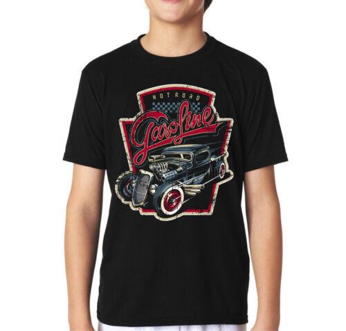 Velocitee Kids T-Shirt Hot Road Gasoline Hot Rod Truck Rockabilly Hotrod V195