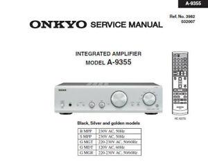 onkyo a 9355 integrated stereo amplifier service manual inc schems rh ebay ie