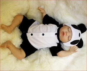 "18"" Reborn Baby Doll Soft Vinyl Silicon Newborn Doll bonecas Panda Clothes Toy"
