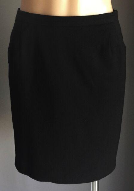 Vintage SIMONA Black Wool Straight Mini Skirt Size 10 - Gprgoeus!