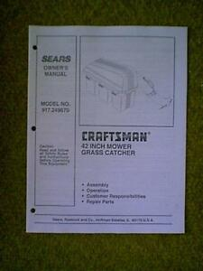 Sears Craftsman Tractor Bagger Model 917 249670 Owner With