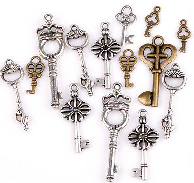100g Mixed Styles Tibetan Silver Key Shape Charms Pendants For Jewelry Making